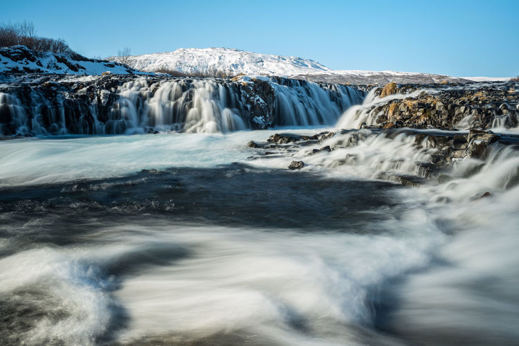 Scenic View Of Waterfalls At Scandinavia During Winter Against Sky