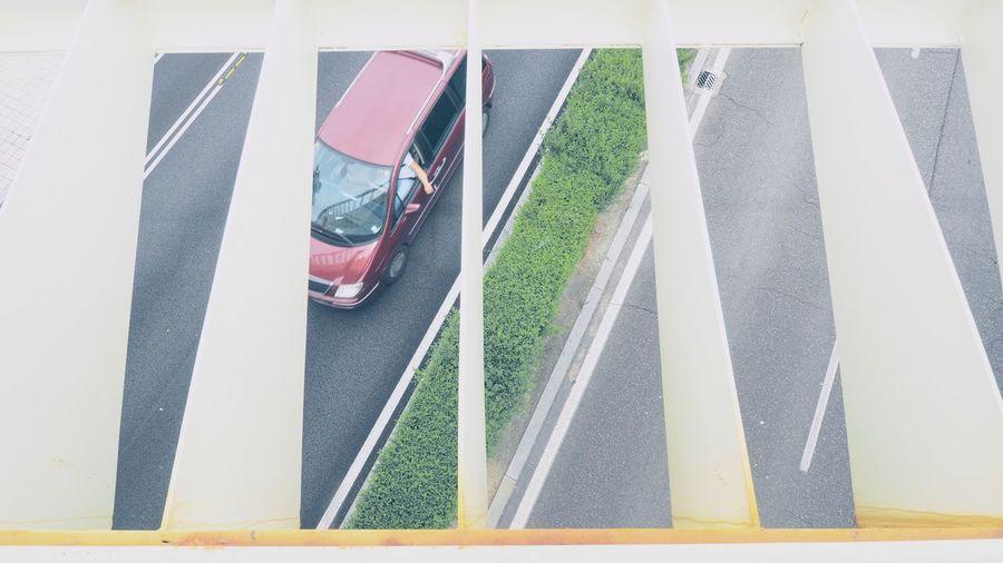 High angle view of railing