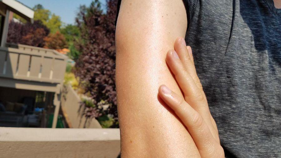 Sunlight Outdoors Skin Skin Cancer Skin Health Skin Safety Sun Safety Sunscreen Arm EyeEm Selects Human Hand Beauty Beach Skin Care Females Beautiful People Suntan Lotion Sunbathing Tan