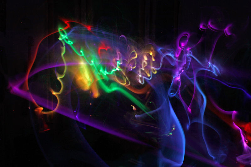 Dream Light Painting Rainbow Colors Squiggles Dreamy Illuminated Lights At Night Lights In The Dark Long Exposure Multi Colored Night UnderSea