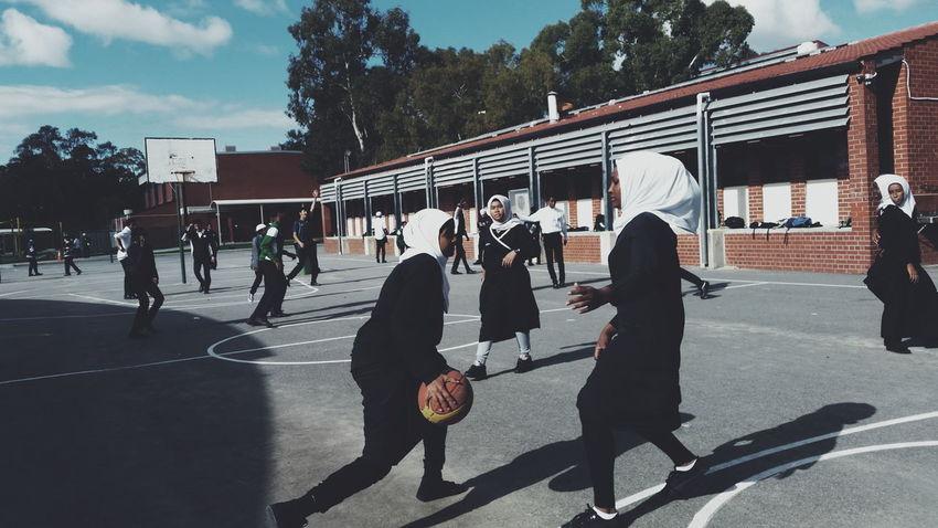 Girl Power Muslim Woman Hijab Basketball Fun Sumsung School Girls Just Wanna Have Fun :) Women Feminist Work Uniqueness The City Light