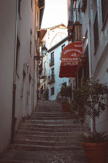 Steps amidst buildings