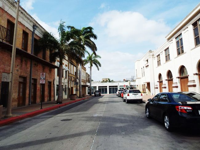 Old City Building Historical Building Lonely Road Palm Trees Clean Streets Brownsville Texas Rio Grande Valley Parked Cars Downtown Road Hidden Gems
