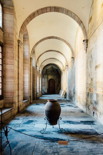 Indoor cloister perspective. Astorgas,the way of saint Jacks Arch Architectural Column Architecture Building Built Structure Cathedral Cloister Cloisters Park Corridor Culture Day Empty Historic Monastry Museum The Way Forward Travel