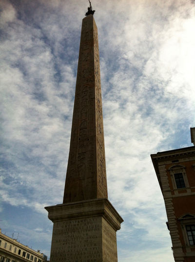 Architectural Column Architecture Building Exterior Built Structure Cloud - Sky Day Egypt Lateran HIll Lateran Obelisk Low Angle View Monument No People Obelisk Sky The Lateran Basilica Tower Travel Destinations Rome Roma