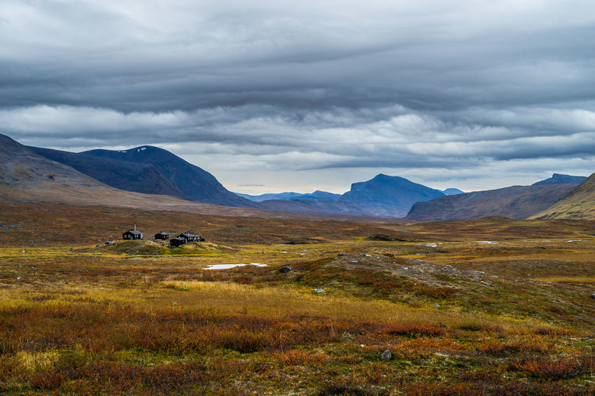 September hiking along The King's Trail in northern Sweden Autumn Beauty In Nature Cabins  Cloud Cloud - Sky Cloudy Cottage Day Fall Hiking Kungsleden Landscape Mountain Nature No People Non-urban Scene Northern Europe Outdoors Remote September Sky Sweden Sälka The Kings Trail Tranquility