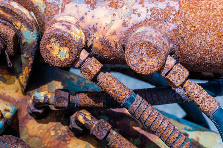 Full frame shot of rusty valves and pipes
