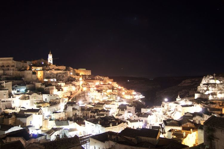 Architecture Building Exterior City Cityscape History House Illuminated Italy Matera Night Residential Building Town Travel Travel Destinations Urban Skyline