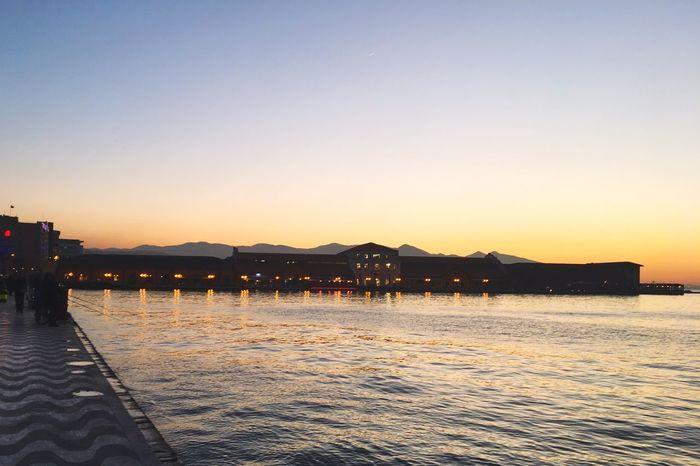 EyeEm eyeemphoto Beach Alsancak Kordon EyeEm Selects Sunset Water Outdoors Clear Sky Built Structure Silhouette