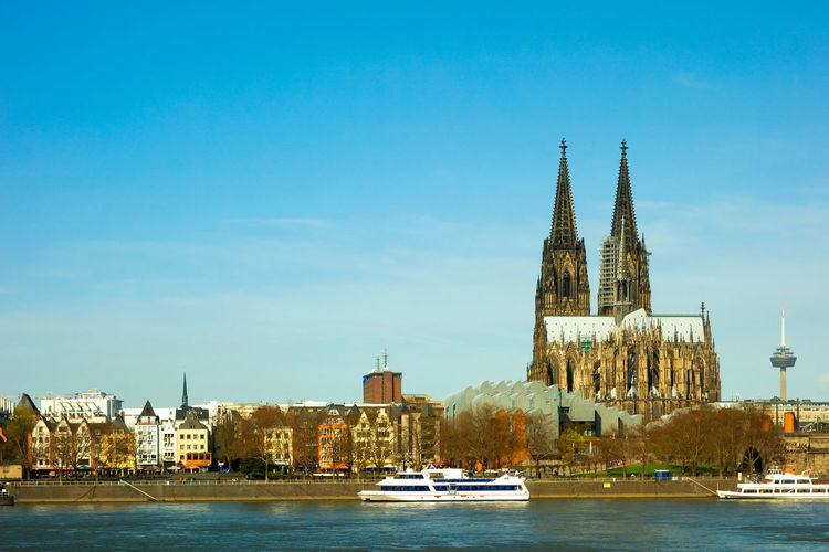 Cologne Cathedral At Waterfront In Germany