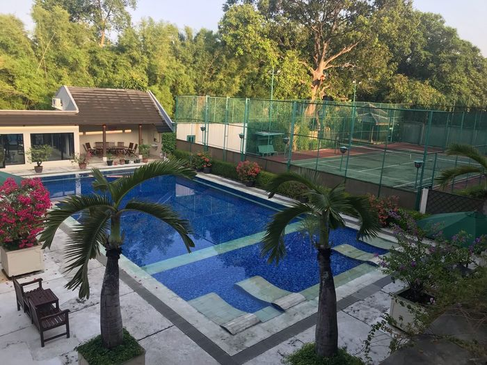 Sport Facility Gym Tenniscourt Built Structure Architecture Tree Building Exterior Plant Building Nature Day Sky No People House Residential District Growth Sunlight Swimming Pool Outdoors Arts Culture And Entertainment City Decoration Pool EyeEmNewHere