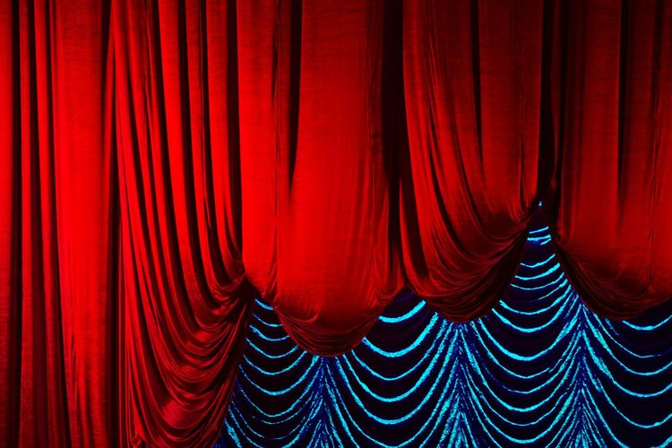 Arts Culture And Entertainment Backgrounds Curtain Exhibition Film Industry Full Frame Indoors  Movie Theater Nightlife No People Pattern Performance Performing Arts Event Red Red And Blue Stage Stage - Performance Space Stage Theater Textile Velvet