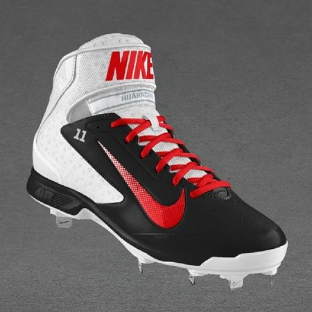 New Baseball Cleats Nike ID black white red amsterdam diamonds