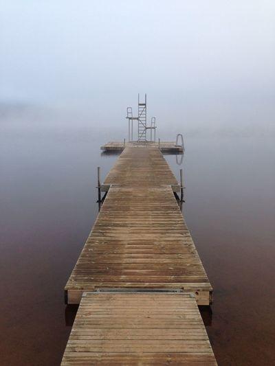 Misty Misty Morning Sweden Early Morning Sweden Diving Board Jetty View Jetty Lake Misty Lake