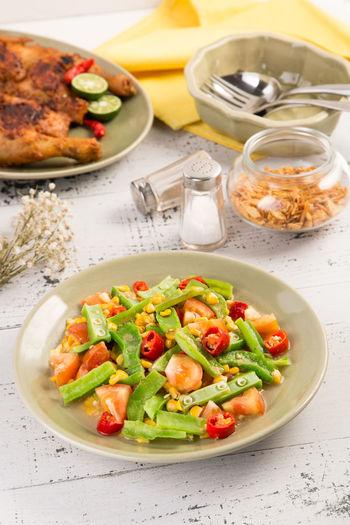 High angle view of salad on plate