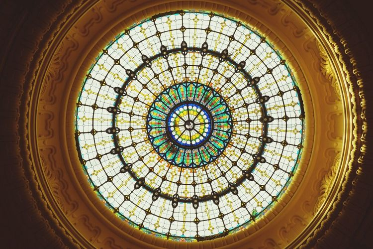 Squared Circle Stained Glass Dome Architecture