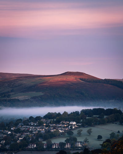Peak District sunrise Peak District  Purple Sky Sun Scenics - Nature Sky Beauty In Nature Tranquil Scene Mountain Environment Tranquility Nature Cloud - Sky Landscape Sunset No People Mountain Range High Angle View Fog Water Idyllic Outdoors Travel Destinations