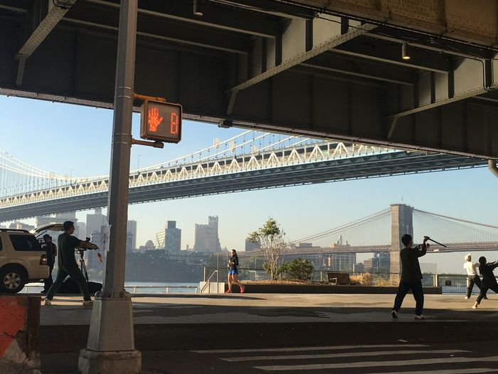 Real People Morning Lifestyles Exercising Tai Chi NYC NYC Street NYC Photography NYC Street Photography NYC Skyline Skyline New York City Manhattan Bridge Bridge - Man Made Structure Group Of People City Built Structure IPhoneography The Mobile Photographer - 2019 EyeEm Awards The Street Photographer - 2019 EyeEm Awards The Traveler - 2019 EyeEm Awards