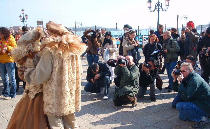 Adult Adults Only Carnevale Di Venezia Carnival Couple Day Friendship Large Group Of People Men Only Men Outdoors Outfit Paparazzi People Performance Photographers Piazza San Marco Posing For The Camera Real People Social Issues Teamwork Togetherness