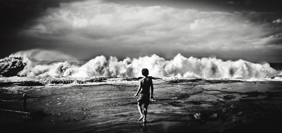 Boy meets Surf Water Sea Surf Light And Shadow Eric Imbs Monochrome Black And White Blackandwhite Monochrome Photography Surf's Up Landscape Landscape_photography Water Beach Ericimbs