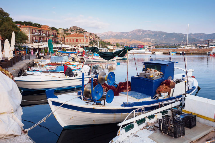 Molyvos harbor on Lesbos island Molyvos Greece Lesbos Lesvos Island Village Fishing Village Harbor Fishing Boat Greek Water Nautical Vessel Moored Sea Mitilini Lifestyles Architecture Outdoors