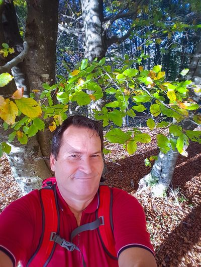 Mature Adult Day One Person Real People Outdoors Looking At Camera Smiling Tree Portrait Happiness Lifestyles Nature Second Acts Hiking Autumn Colors Autumn Leaves Leaf Shadow Branch Scenics Tranquility Forest Sunlight