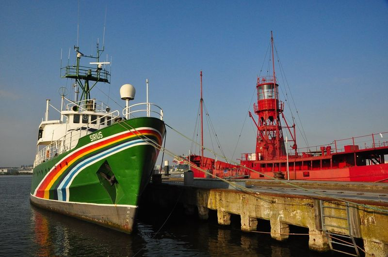 Anchored Greenpeace Harbor Lighthouse Rainbow Ship Sírius