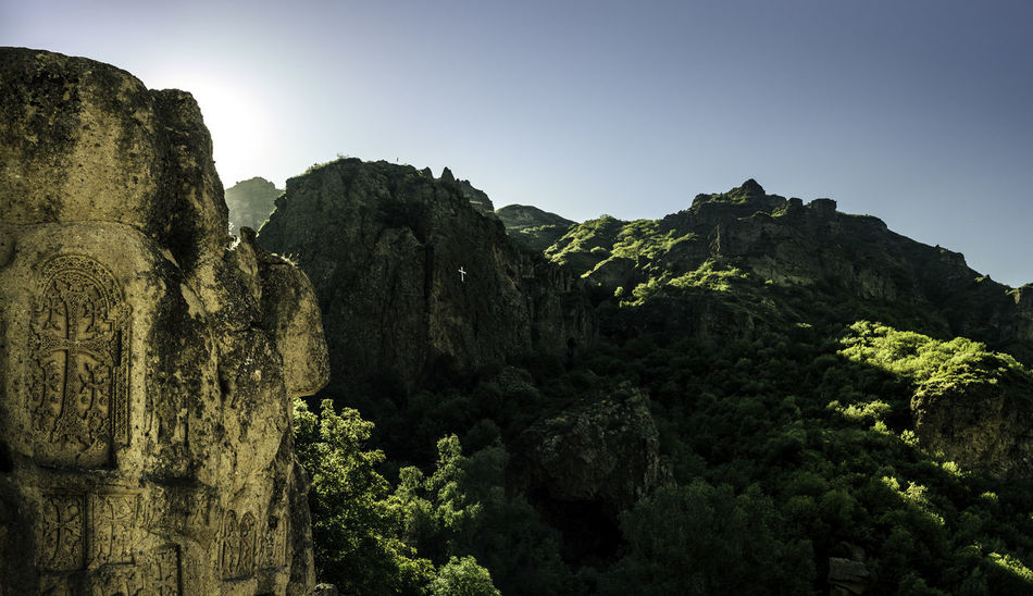 Landscape at Monastery Geghard Armenia Geghard Geghard Monastery Monastery Morning Light Beauty In Nature Clear Sky Cliff Day Mountain Nature No People Outdoors Rock - Object Unesco World Heritage Perspectives On Nature
