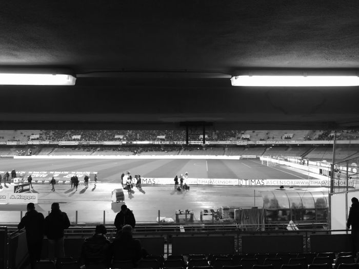 """W8ing 4 the match"" Football No Filter No Filter, No Edit, Just Photography No Filters Or Effects Blackandwhite Blackandwhite Photography Stadium Illuminated Architecture Built Structure"