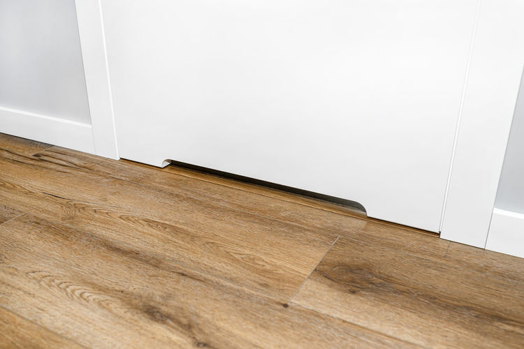 High angle view of wooden floor at home