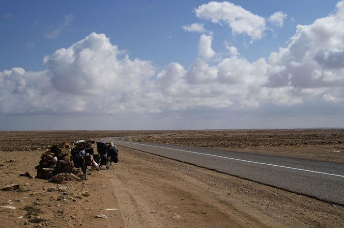 Cycling through the Western Sahara - roads around Tan Tan/ Al-Ajoen Al-Ajoen Bicycle Trip Tan Tan West Africa Africa Bicycle Landscape Outdoors Road Sahara Scenics Transportation Western Sahara