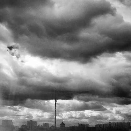 Moscow Sky Ostankino B/w Blackandwhite Clouds And Sky Clouds Москва Останкинская телебашня
