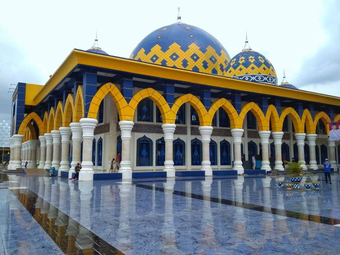 mosque Mosque Lubuk Linggau City Water Dome Place Of Worship Religion Arch Sky Architecture Built Structure Building Exterior