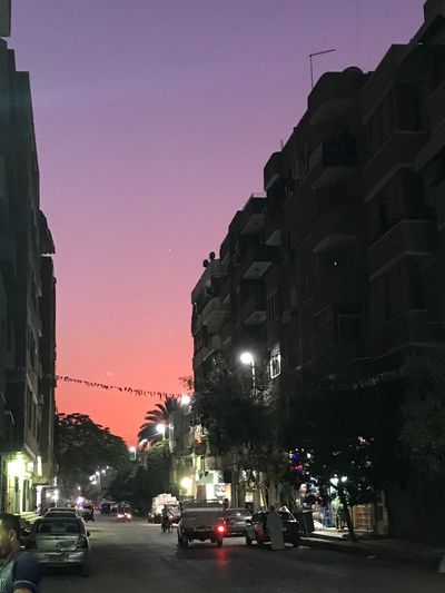 Sky Sunset City Outdoors Tree Busy Life In Egypt's Street Colored Sky EyeEmNewHere EyeEmNewHere