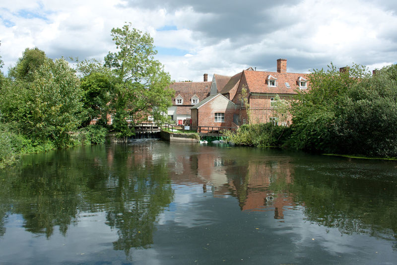 Cloudy Sky Flatford Mill Water Reflections Architecture Building Exterior Built Structure Constable Country Flatford Flatfordmills Historic Building No People Outdoors Reflection Reflections In The Water Reflections In Water Sky Tree Water Water Reflection