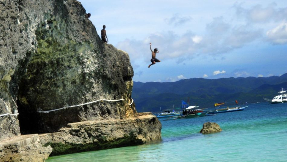 Water Mountain Sea Nature Sky Scenics Beauty In Nature Rock - Object Outdoors Mountain Range Rock Waterfront Boracay Philippines Jumping Leap Of Faith Leap Day Tranquility Who What Where Eyeem Philippines Neighborhood Map