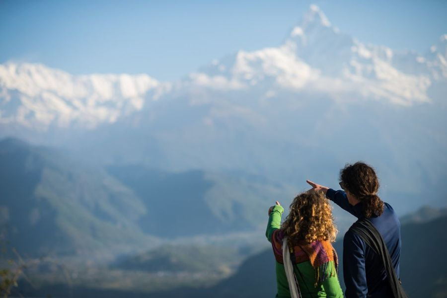 Enjoying Life Nepal Annapurna Mountain Traveller Moment Couple Travel Holiday