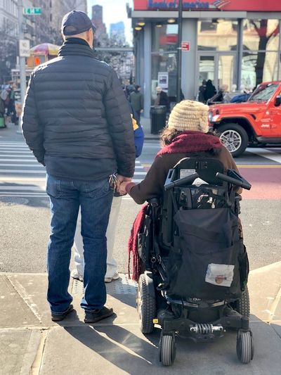 Love has no barriers Couples Couple - Relationship Couple Romantic Relationship EyeEm Gallery EyeEm Best Shots Eye4photography  Rear View Street City Mode Of Transportation Transportation Architecture Real People Differing Abilities Walking #NotYourCliche Love Letter City Street Wheelchair Two People People