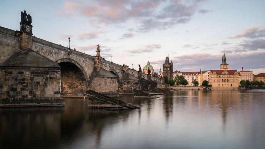 Charles bridgeover vltava river in city