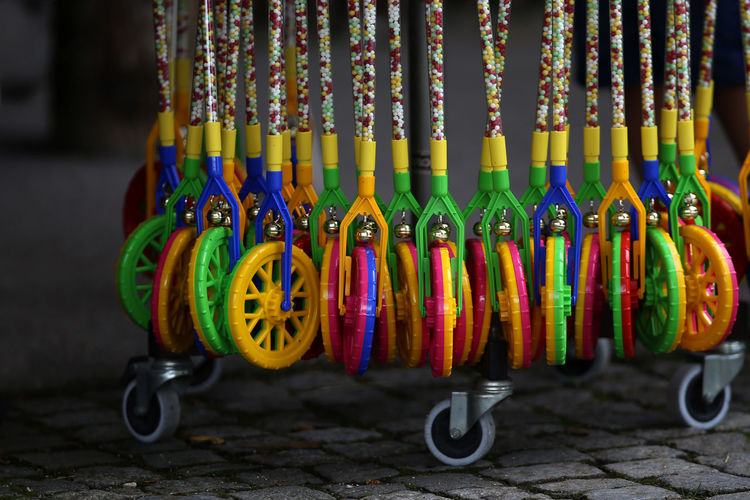 Close-up of multi colored toy hanging for sale