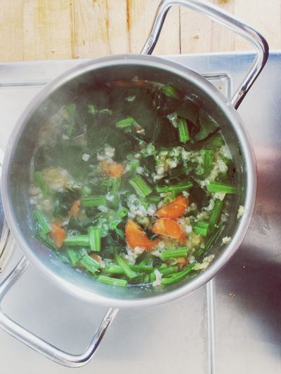 Healthy Eating Food Freshness Soup No People Indoors  High Angle View Cooking Vegetable Steam