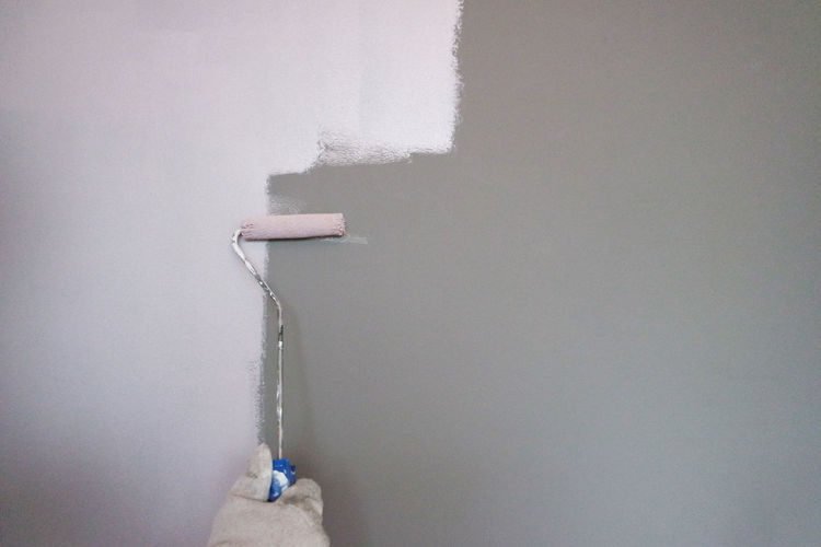Wall - Building Feature Paint Roller Copy Space White Color Indoors  No People Built Structure Day Architecture DIY Home Improvement Wall Cold Temperature Close-up Holding