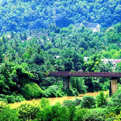 Luangprabang Laos ASIA Nature Green Holiday Bridge Unesco
