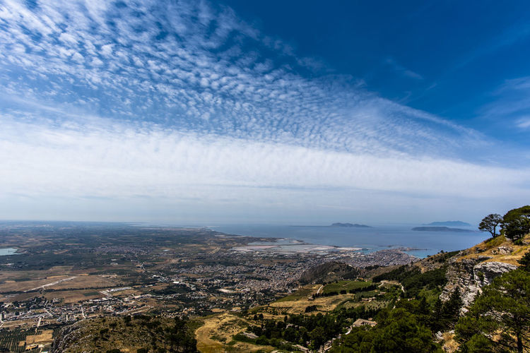Cloudscape of the plain in front of erice trapani sicily italy