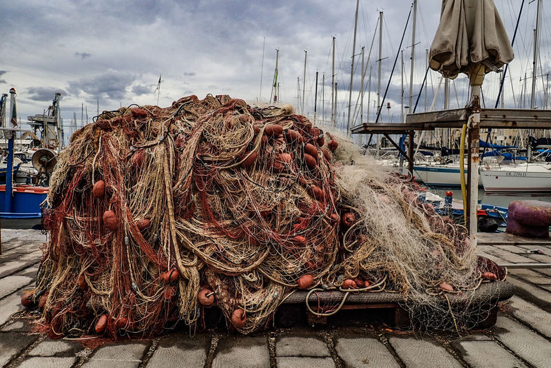 fishing nets. Sicily Palermo, Italy Port Of Palermo Beach Sky Close-up Commercial Fishing Net Fishing Net Fishing Equipment Fishing Industry Fish Market Fishing