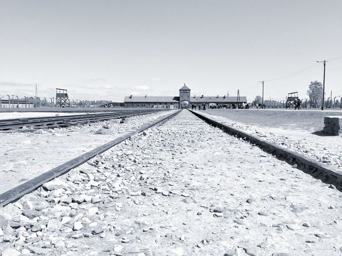 Auschwitz II Birkenau Railroad Track Outdoors No People Sky War Concentration Camp Poland