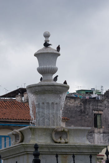 Fountain in Plaza Vieja City Cuba Cuba Collection Day Fountain Habana Vieja Outdoors Pidgeons Plaza Vieja Sculpture Sky Travel Destinations Travelling Photography UNESCO World Heritage Site