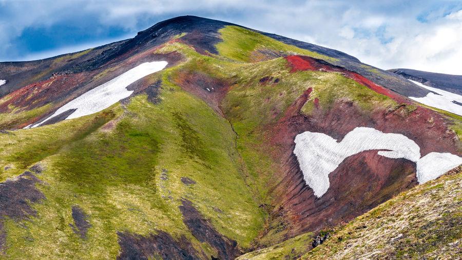 Heart shape on mountain against sky