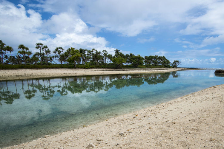 Scenic view of beach against sky in vanuatu