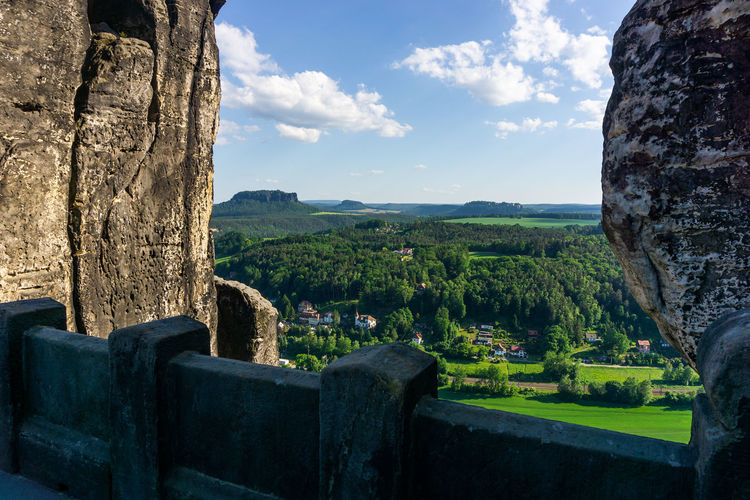 View from bastei bridge on rathen and lilienstein in the background